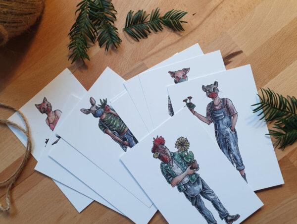 amvspreckelsen Illustration & Design Hamburg,, gesamtuebersicht postkarten