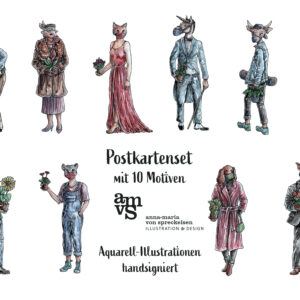 Postkarten-Set | Aquarell | Tiere mit Corona-Masken | 10 Motive