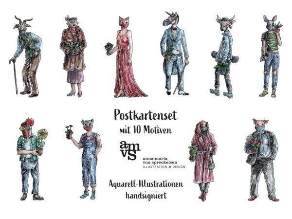 amvspreckelsen Illustration & Design Hamburg, signiertes Postkarten Set motivuebersicht