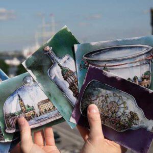 Postkarten-Set | Aquarell | Hamburg im Glas | 5 Motive